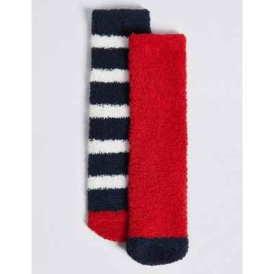 2 Pack of Striped Slipper Socks, Navy Mix