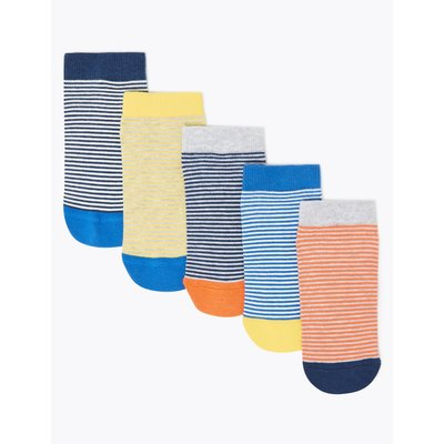 5 Pairs of Striped Trainer Liner Socks multi-coloured