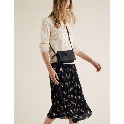 M&S Womens Floral Pleated Midi Skirt - 16LNG - Navy Mix, Navy Mix