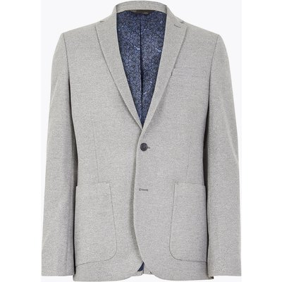 M&S Collection Big & Tall Grey Slim Fit Textured Jacket with Stretch