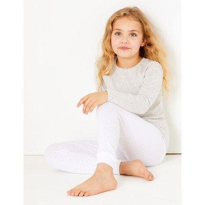 Cotton Blend Cuffed Hem Leggings (18 Months - 16 Years), White