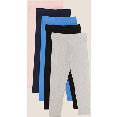 5 Pack Cotton Leggings with Stretch (3-16 Yrs), Multi