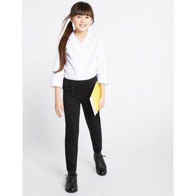 Girls' Skinny Leg Button Front Trousers black