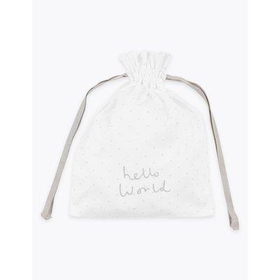 Organic Cotton Hello World Gift Bag white