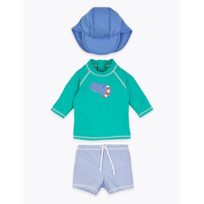 3 Piece Hippo Design Rash Vest Outfit (0-3 Yrs) green