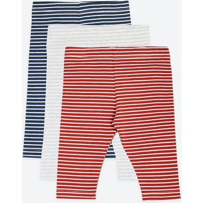 3 Pack Cotton Striped Print Leggings, Copper