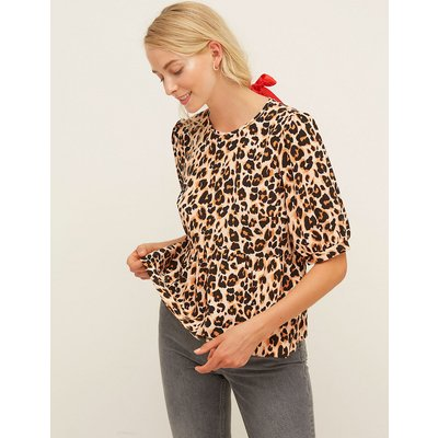 Nobody's Child Leopard Print Relaxed Short Sleeve Top