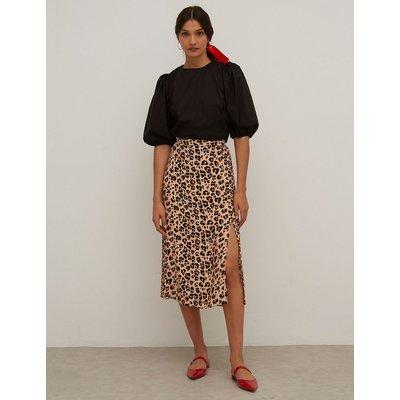 Nobody's Child Leopard Print Side Spilt Midi A-Line Skirt