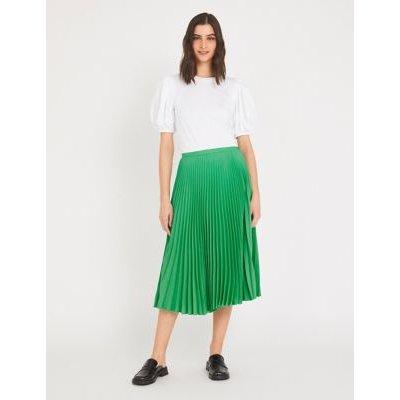 M&S Finery London Womens Crepe Pleated Midi Skirt - 10 - Emerald, Emerald