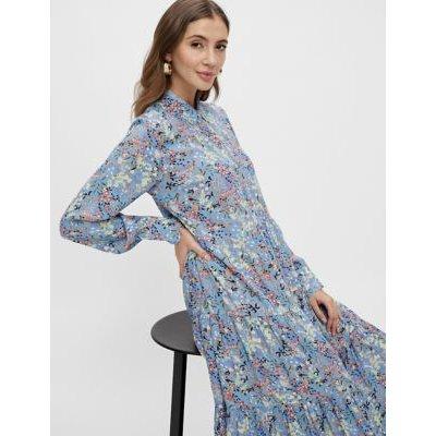 M&S Y.A.S Womens Floral Maxi Shirt Dress - Blue, Blue