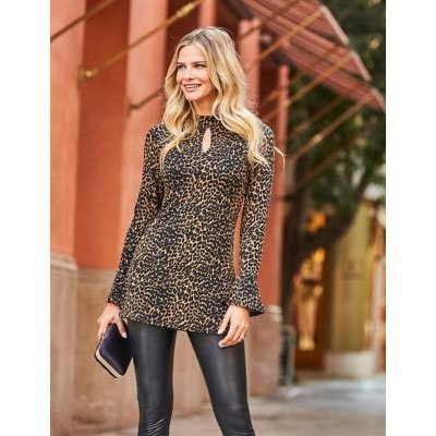 M&S Sosandar Womens Jersey Animal Print Long Sleeve Tunic - 10 - Brown Mix, Brown Mix