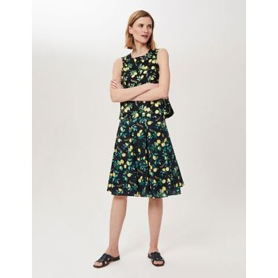 M&S Hobbs Womens Pure Cotton Lemon Print A-Line Skirt - 16 - Navy Mix, Navy Mix