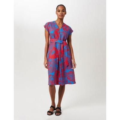 M&S Hobbs Womens Pure Linen Floral V-Neck Belted Shift Dress - 10 - Blue/Red, Blue/Red