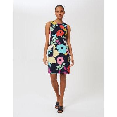 M&S Hobbs Womens Cotton Floral Sleeveless Shift Dress - 10 - Navy Mix, Navy Mix