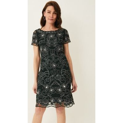 M&S Phase Eight Womens Floral Embroidered Knee Length Shift Dress - 12 - Green, Green
