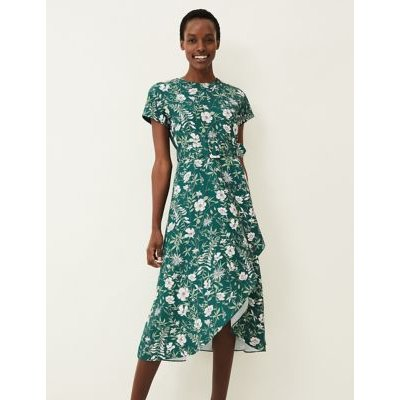 M&S Phase Eight Womens Floral Round Neck Belted Midi Dress - 18 - Green, Green