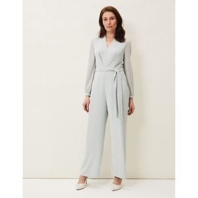 M&S Phase Eight Womens Belted Long Sleeve Jumpsuit - 16 - Green, Green