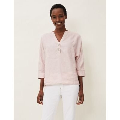 M&S Phase Eight Womens Linen V-Neck 3/4 Sleeve Blouse - 8 - Pink, Pink