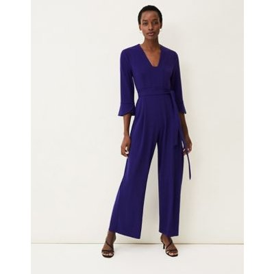 M&S Phase Eight Womens Belted 3/4 Sleeve Jumpsuit - 12 - Royal Blue, Royal Blue