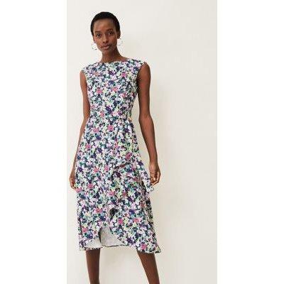 M&S Phase Eight Womens Floral Slash Neck Midi Waisted Dress - 16 - Multi, Multi