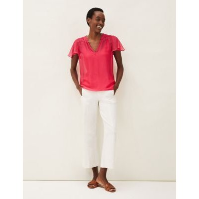 M&S Phase Eight Womens V-Neck Short Sleeve Blouse - 12 - Pink, Pink