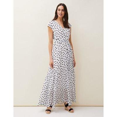 M&S Phase Eight Womens Polka Dot V-Neck Maxi Tiered Dress - 16 - White Mix, White Mix