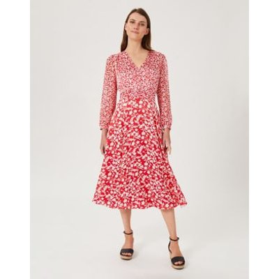 M&S Hobbs Womens Floral V-Neck Button Front Midi Tea Dress - 18 - Red Mix, Red Mix