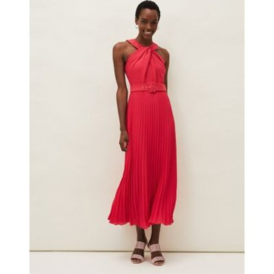 M&S Phase Eight Womens Sleeveless Belted Maxi Tea Dress - 14 - Pink, Pink