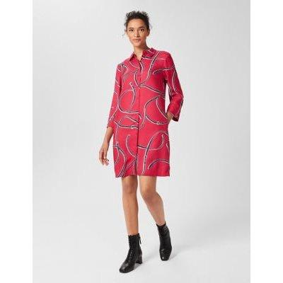 M&S Hobbs Womens Printed Knee Length Shirt Dress - 8 - Pink Mix, Pink Mix