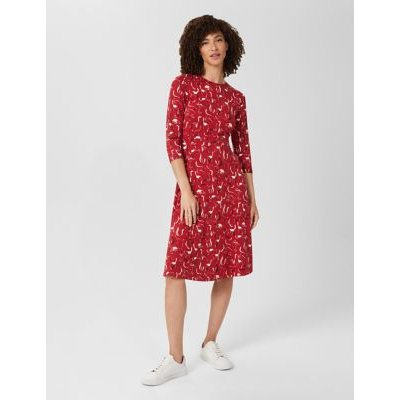 M&S Hobbs Womens Jersey Printed Knee Length Waisted Dress - 6 - Red Mix, Red Mix