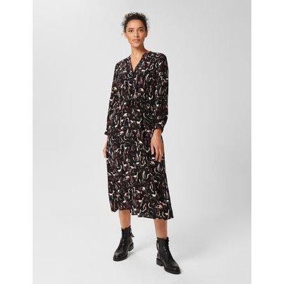 M&S Hobbs Womens Printed Button Through Midi Waisted Dress - 8 - Black Mix, Black Mix