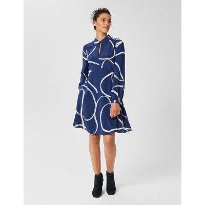 M&S Hobbs Womens Printed Knee Length Swing Dress - 6 - Blue Mix, Blue Mix