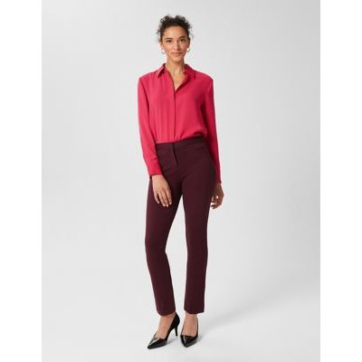 M&S Hobbs Womens Jersey Slim Fit Ankle Grazer Trousers - 6 - Burgundy, Burgundy