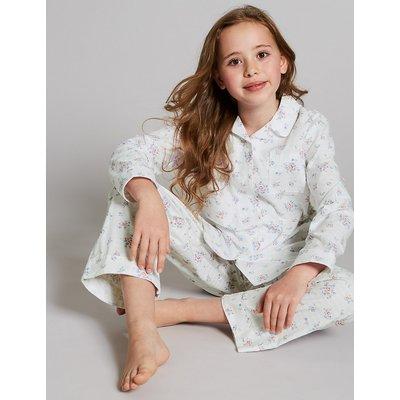 Autograph Pure Cotton Pyjamas (1-16 Years), White Mix