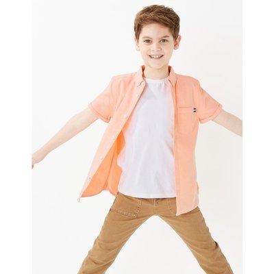 Cotton Short Sleeve Oxford Shirt (6-16 Years) orange