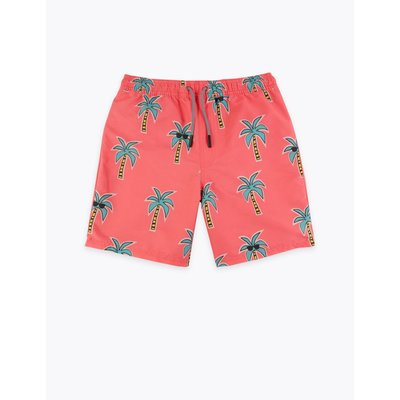 Palm Print Swim Shorts (6-16 Years) pink, Pink Mix