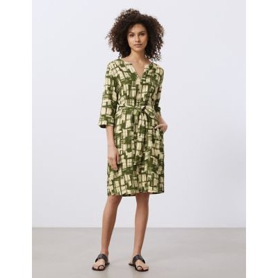 M&S Jaeger Womens Pure Linen Printed Belted Waisted Dress - 18 - Khaki Mix, Khaki Mix