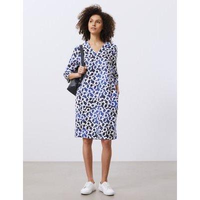 M&S Jaeger Womens Pure Linen Printed V-Neck Dress - 8 - Dark Blue Mix, Dark Blue Mix