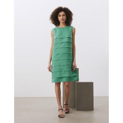 M&S Jaeger Womens Pure Linen Knee Length Shift Dress - 6 - Green, Green