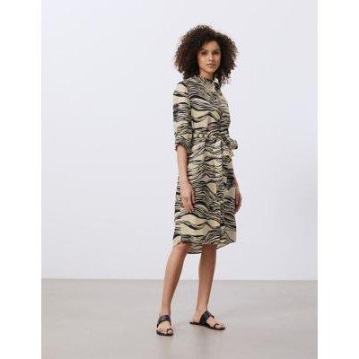 M&S Jaeger Womens Pure Linen Printed Knee Length Shirt Dress - 12 - Natural Mix, Natural Mix