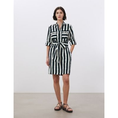 M&S Jaeger Womens Pure Linen Striped Belted Dress - 12 - Navy/White, Navy/White