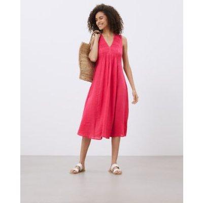 M&S Jaeger Womens Pure Linen V-Neck Midi Smock Dress - 8 - Hot Pink, Hot Pink
