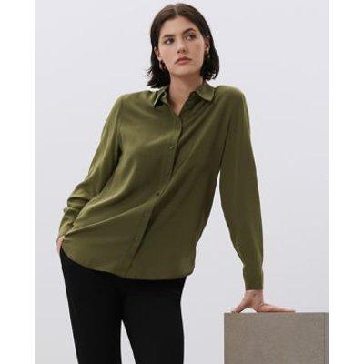M&S Jaeger Womens Pure Silk Collared Long Sleeve Shirt - 12 - Khaki, Khaki