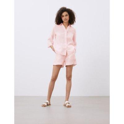 M&S Jaeger Womens Pure Linen Lounge Shirt - 16 - Light Pink, Light Pink