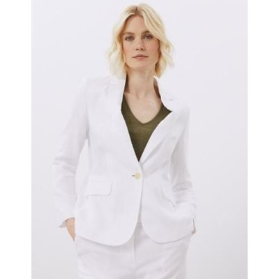 M&S Jaeger Womens Pure Linen Relaxed Single Breasted Blazer - 18 - Natural, Natural