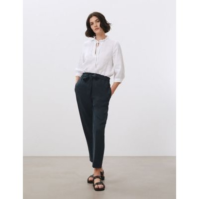 """M&S Jaeger Womens Pure Tencelâ""""¢ Paperbag Tapered Trousers - 16 - Navy, Navy"""