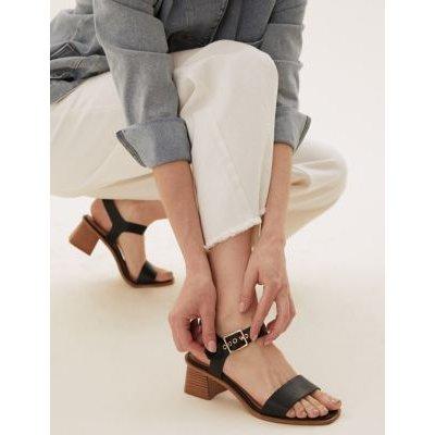 M&S Womens Wide Fit Ankle Strap Block Heel Sandals - 3 - Black Mix, Black Mix,Tan