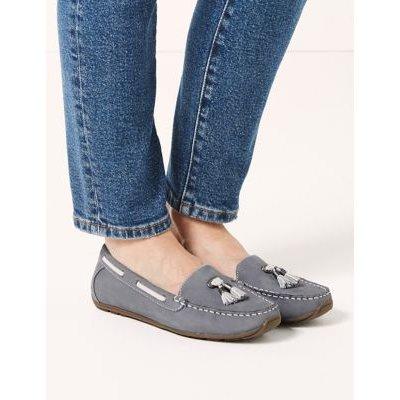 M&S Womens Wide Fit Leather Tassel Boat Shoes - 4 - Pale Blue, Pale Blue