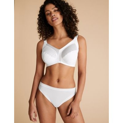 M&S Womens Total Support Striped Non-Wired Full Cup Bra B-G - 42F - White, White,Black,Opaline