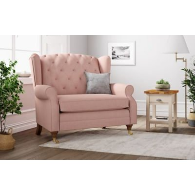 M&S Highland Button Loveseat - Navy, Navy,Grey,Emerald,Dark Ochre,Dusky Pink,Peacock,Natural,Ochre,Charcoal,Duck Egg,Steel
